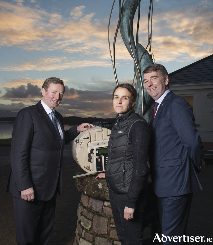 Pictured in Furnace, near Newport was from L/R Taoiseach Enda Kenny, Elvira De Eyto (Scientist Marine Institute) and Dr Peter Heffernan, Marine Institute CEO. Photo: Michael Mc Laughlin