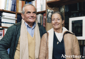 Michel and Chantal Déon by the 'Beckett' Window at Kennys Bookshop.
