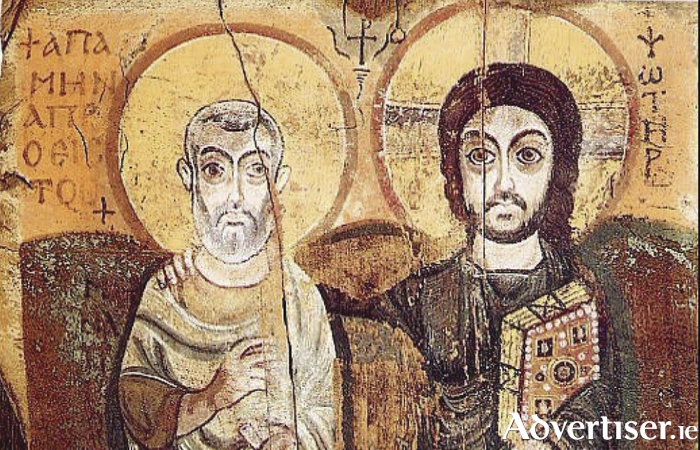 Christ and Saint Menas, a 6th-century Coptic icon from Egypt.