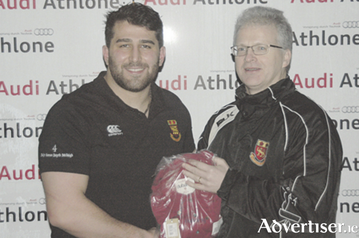 Saba Meunargia is presented with the Audi Athlone Man of the Match award by Buccaneers senior vice-president Mark O'Reilly following the draw with Ballymena