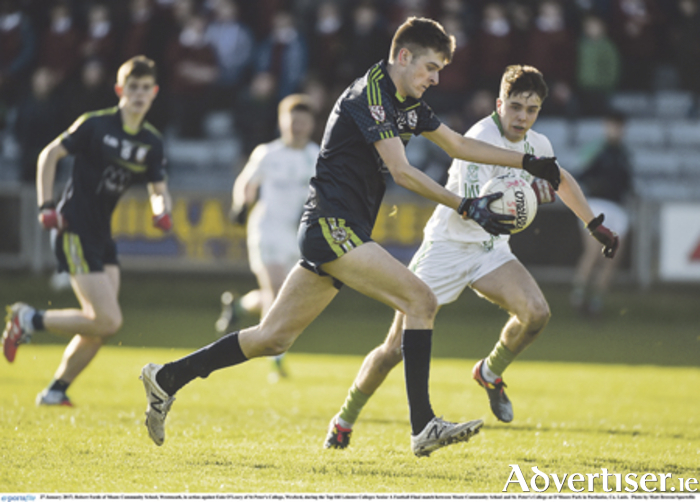 Robert Forde of Moate Community School in action against Eoin O'Leary of St Peter's College, Wexford, during the Top Oil Leinster Colleges Senior A Football final at O'Moore Park, Laois.  Photo: Matt Browne/Sportsfile