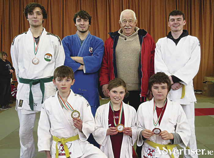 Members of the Connemara Judo Club who competed at the 2017 All Ireland Judo Championships 2017 which were held at The Islamic Cultural Centre in Dublin, Duncan Mathews (bronze), Josh Mathews, coach Luigi Van Neuwenberg, Jack Lally (silver), Cillian Curran (gold), Alannah Herriott O'Donoghue (gold), Tiernan Walsh (bronze), and Peter Berry  (not pictured).