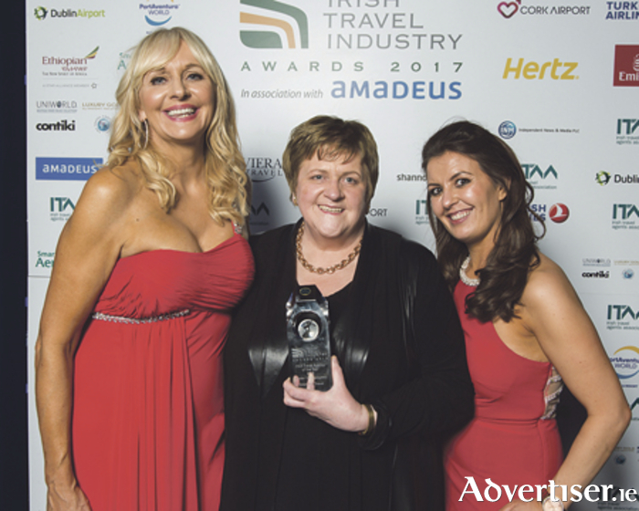 Miriam O'Callaghan, MC for the Irish Travel Industry Awards, is pictured with Marie Grenham and Rachael Donnelly of Grenham Travel