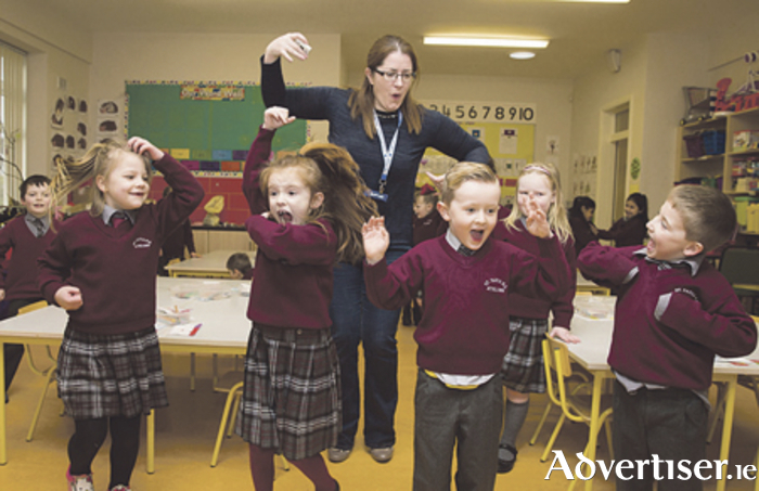 Students of St Paul's National School, Athlone with teacher Linda Walshe. Photo: Conor Healy Photography