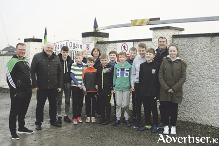 Athlone Mayor, John Dolan, is pictured with locals at Hogan Park, Moate, where a pedestrian crossing will be installed in the near future
