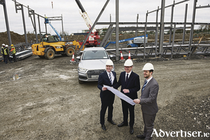 Kevin Connolly, Connolly Motor Group  with Henning Dohrn, MD AUDI Ireland  and Neil Connolly,  Connolly Motor Group at the site of the new Audi show room in Galway next to the Galway Race course in Ballybrit. Photo: Andrew Downes, xposure