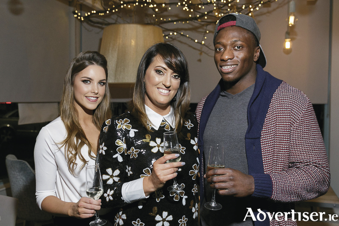 Roisin Nolan from Catwalk Models, Vicky Casey, Caprice Cafe owner and Niye  Adeolokun, Connacht Rugby attending the West of Ireland Launch of Skinny Prosecco at Caprice Cafe.  Photo: Paul Fennell