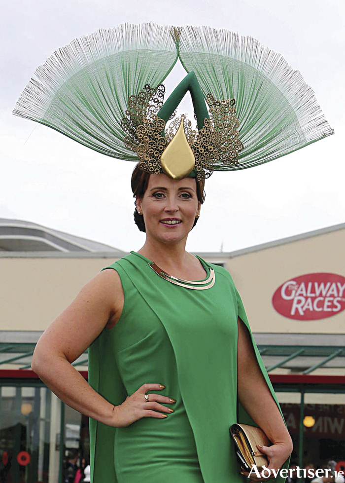 Award winning milliner Caithriona King from Corofin modelling one of her creations.