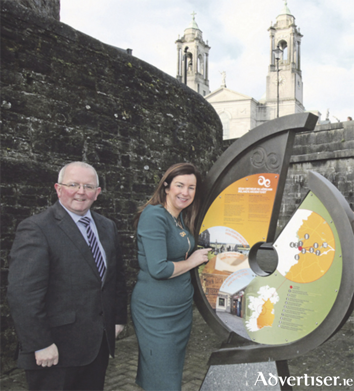 Pictured at the sign at Athlone Castle is Pat Gallagher, CEO at Westmeath County Council, and Justine Carey of Fáilte Ireland.  Photo: Padraig Devaney