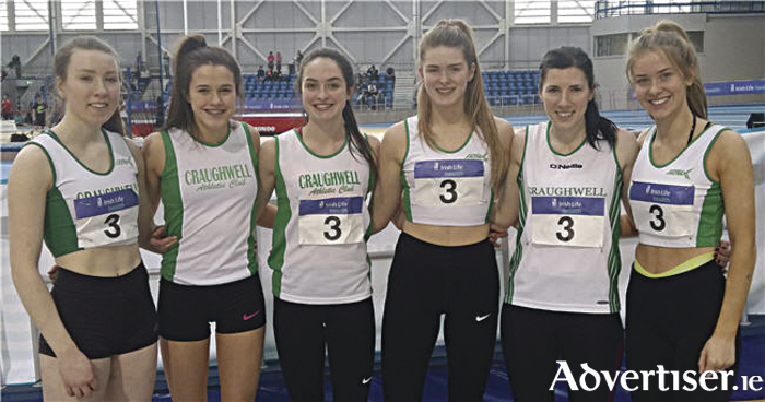 Craughwell AC's National League team which placed eighth in the national finals on Saturday:  Sineád Treacy, Ciana Reidy, Lorraine Delaney, Laura Cunningham, Sarah Finnegan, and Caoilin Milton.
