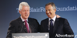 Yesterday's men - Bill Clinton and Tony Blair. Time has run out on the centrist ideology they created in the 1990s. Photo:- Mike Segar