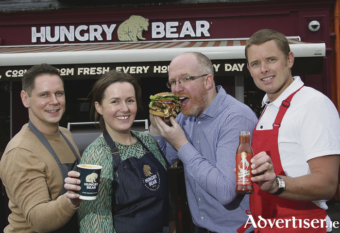 The Hungry Bear, quick service restaurant, Eyre Square, just launched its new menu featuring the best locally sourced suppliers. Pictured at the supplier day launch were Jonathan Sibley of McCabes Hand Roasted Coffee, Lisa Doherty, manager of The Hungry Bear, Ronan Byrne the Friendly Farmer, and Jamie Peaker, The Sauce Guy. Photo:-Mike Shaughnessy