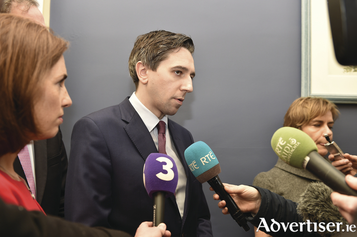 Minister for Health Simon Harris meets the Media at Galway University Hospital on his visit on Monday.  Photo:- Joe Travers