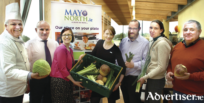 Gerry Luskin (Luskin's Bistro), Anthony Heffernan (Heffernan's Fine Food), Mags Downey-Martin (Ballina Chamber and Tourist Office), Anne-Marie Flynn (MayoNorth.ie), DJ Kellett and Áine Bell (Enniscoe Organic Garden), and Michael Carr (Michael Carr Foods) at the launch of the Mayo North food seminar which will take place in Ballina next month. Photo: Henry Wills