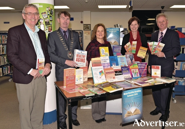 Pictured in Castlebar Library at the launch of the Mayo Healthy Reading Scheme, were Austin Vaughan (county librarian), Councillor Al McDonnell, (Cathaoirleach Mayo County Council), Dr Menna O'Neill (psychology manager), Dr Ann Cullen (consultant psychiatrist,  Mayo Mental Health Services), and Laurence Gaughan, (Health and Wellbeing Department HSE). Photo: Ken Wright Photography.