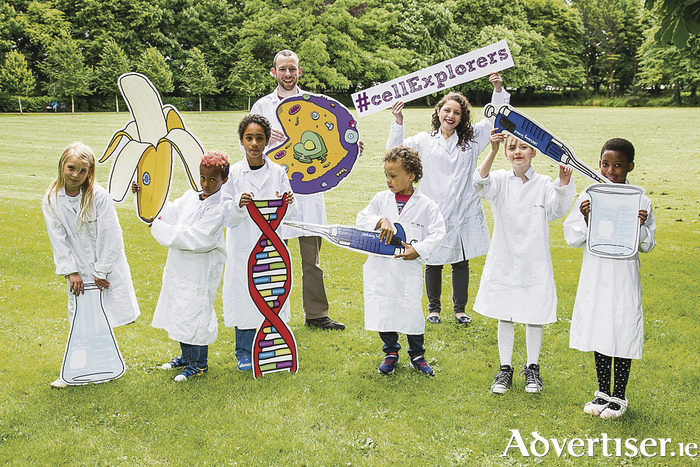 Young scientists from Galway Educate Together National School and St James National School, Bushypark, Galway supporting the Fantastic DNA National school roadshow with Cell EXPLORERS team member Ivor Geoghegan.