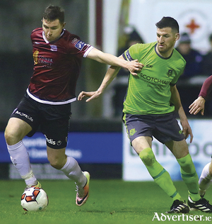 Padraic Cunningham of Galway United holds off Gavin Brennan of Drogheda United in action last weekend's opening SSE Airtricity League premier division game at Eamonn Deacy Park.  				Photo:-Mike Shaughnessy