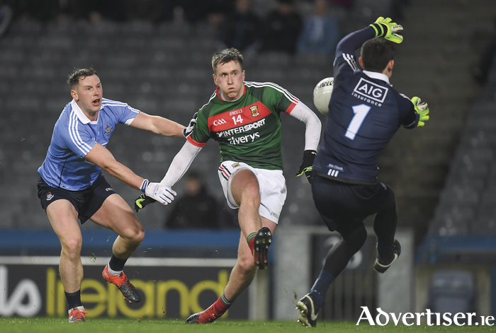 No way through: Stephen Cluxton saves Cillian O'Connor's effort for a goal on Saturday night. Photo: Sportsfile.