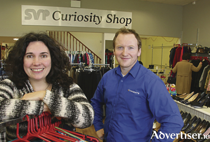 Agnes Sage manager of the SVP Curiosity Shop, Westside with SVP retail manager Padraic McDonagh. Photo:-Mike Shaughnessy