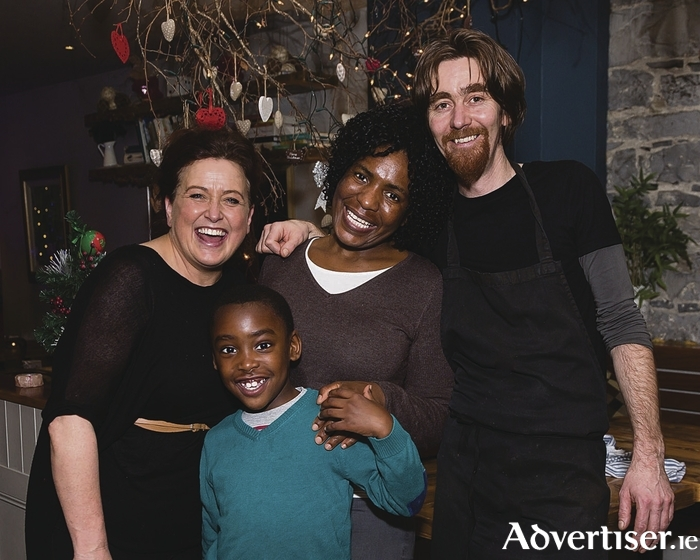 Organisers of The One World Tapestry Multicultural Food event in Dela Restaurant: Margaret Bohan, Dela Retaurant; Blessing Moyo and her son Alex Mugisha; and Alan Gosker, chef, Dela Restaurant.