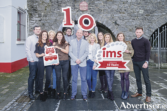 The team from IMS Marketing in Oranmore celebrating a decade in business.