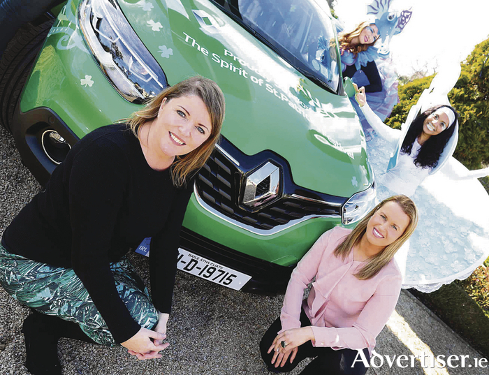 Karla Clifford, brand communications manager of Renault Ireland, with Rachel Lally and Soraia Freitas from Artastic, and Susan Kirby, CEO St Patrick's Festival with one of the St Patrick's Festival themed green Kadjars that will be used during the festival.