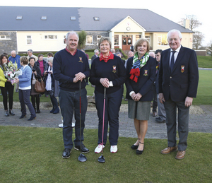Ready for new season: Gents' captain Noel Burke and lady captain Marian Martyn pictured with lady president Ann McGovern and president Michael O'Malley at the Captain's Drive In at Castlebar Golf Club. Photo: Michael Donnelly.