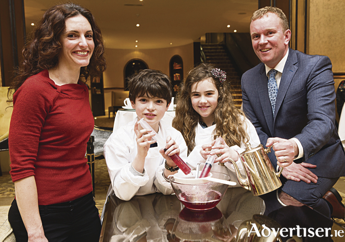 Pictured at the launch of the 'Molecular Gastronomy' Children's Workshop at Hotel Meyrick are Graham Hurley and Gloria Shelton from St. Nicholas Parochial School, Waterside, Galway, along with Sarah Gundy, Project Manager at CÚRAM and Cian O Broin, General Manager of Hotel Meyrick. Photo: Andrew Downes, Xposure.