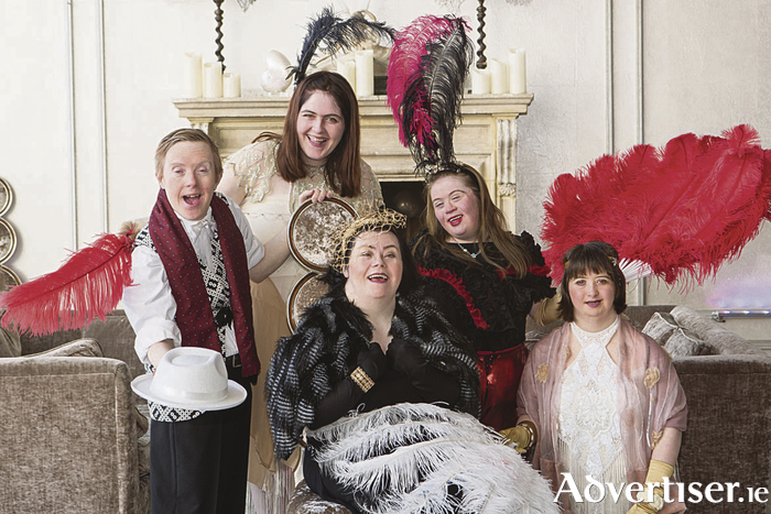 Blue Teapot Theatre Company actors getting ready ahead of their  fundraising Gala which takes place at the g Hotel on March 31. Picture are Patrick Becker, Charlene Kelly, Jenny Cox, Valerie Egan and Emer Macken.  Photo Martina Regan