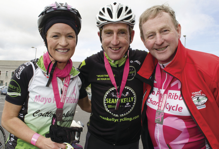 Getting ready for this year's Mayo Pink Ribbon Charity Cycle for Breast Cancer Research were: Ann Heaney, Sean Kelly and Mayo Pink Ribbon patron, An Taoiseach, Enda Kenny.  Photo: Alison Laredo.