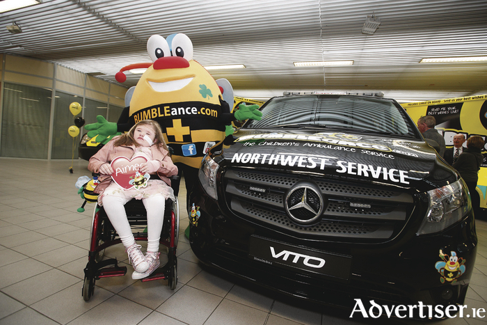Aimee O'Loughlin from Ballina at the launch of the new BUMBLEance service for children from the northwest of the country. Photo: Conor McCabe Photography.