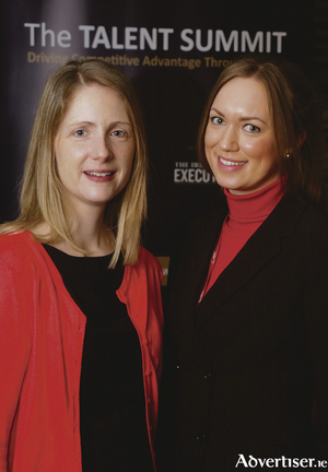 Attending The Talent Summit seminar hosted by Sigmar Recruitment in the Radisson Blu Hotel were Regina O'Keeffe and Eimear Dalton of Merit Medical. Photo:-Mike Shaughnessy