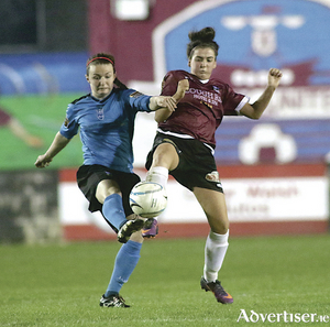 Dearbhaile Beirne of UCD Waves clashes with Aoife Walash of Galway WFC in the opening game of the Continental Tyres Women's National League in Eamonn Deacy Park on Saturday night.  Photo:-Mike Shaughnessy