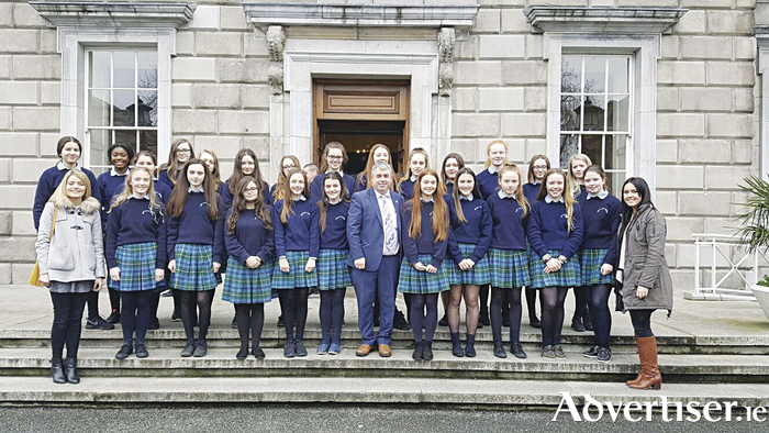 Third year students from Our Lady's Bower were received by local Independent Deputy Kevin 'Boxer' Moran at Dáil Eireann recently