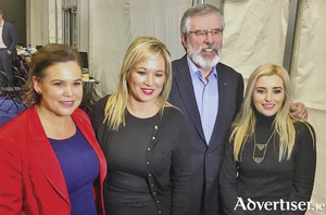 Sinn Féin on the rise? Mary Lou McDonald TD, Michelle O'Neill MLA, Gerry Adams TD, and Órlaithí Flynn MLA.