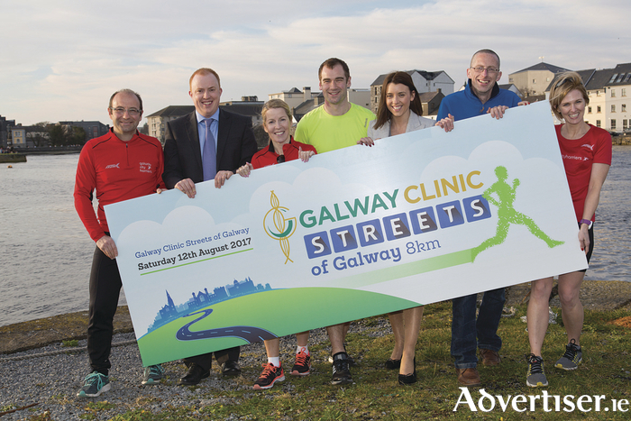 Vincent Jordan (GCH), Robert Glynn (CTO, Galway Clinic), Bridgett Jacobsen (GCH), Tom Breen (GCH), Claire Henry (Galway Clinic), Brian Bruton (GCH) and Marie Sheil (GCH). pictured at the launch of the Galway Clinic Streets of Galway 8k. Photograph by David Ruffles
