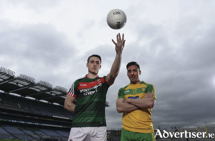 Paddy Durkan  and Donegal's Marty O'Reilly were in Croke Park this week at a media event ahead of this Sunday's meeting of the sides in MacHale Park. Photo: Sportsfile.