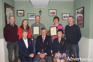 Balla Golf Club Winter League top scorers in the ladies' and gents' sections pictured at the presentation of prizes in The Olde Woods Balla. Back row: John Dempsey (The Olde Woods), Laura Cuffe (AIB - sponsor), Bernie O'Connor  (top gents' scorer), Julie Loftus (top ladies' Scorer), Paul Cuffe (sponsor). Front row: Nancy Golding (president Balla Golf Club), Sean Canny (captain Balla Golf Club), Mary B Prendergast (lady captain Balla Golf Club).