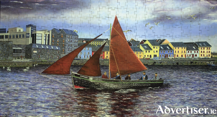 The hand-painted jigsaw, featuring five Kings of the Claddagh sailing past the Long Walk, by local artist Brendan Grehan.