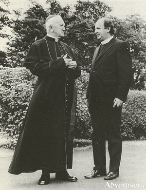 The old confronting the new: Bishop Michael Browne meets Bishop Eamonn Casey for the first time.