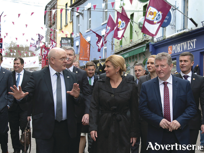 Her Excellency Mrs Kolinda Garbar-Kitarovic, President of the Republic of Croatia on her visit to Galway on Wednesday with Galway City CEO Brendan McGrath and Sean Canney TD Minister for State at Office of Public Works OPW and Flood Relief. Photo:-Mike Shaughnessy