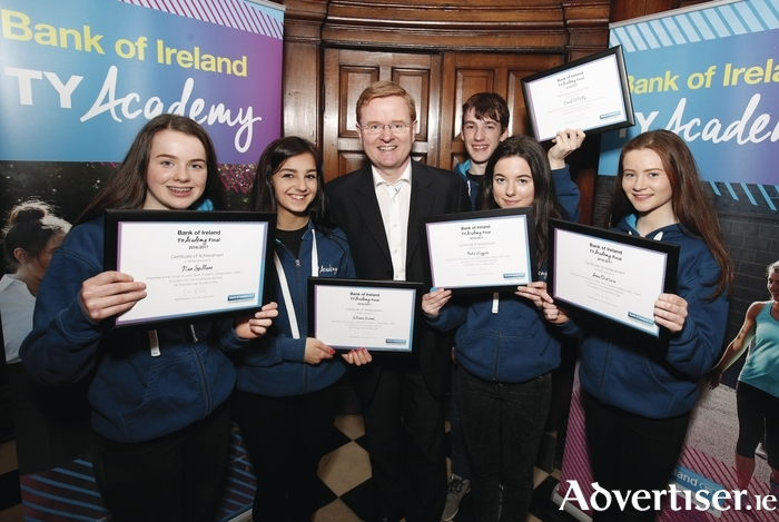 Pictured at the final of Bank of Ireland's TY Academy competition in Dublin are members of finalist team 'Stutor' from Galway, (LtoR): Rian Spillane (Coláiste Iognaid), Silvana Gusani (Galway Community School), Daniel O'Reilly (Presentation Athenry), Katie Higgins (Coláiste Éinde), and Anna O'Hara (Salerno Secondary School), pictured alongside Liam McLoughlin, chief executive, retail banking, Bank of Ireland.