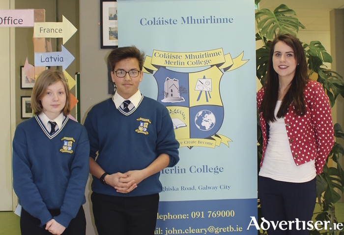 Merlin College students, and One Good Idea finalists, Kinga Nuemann and Reuben Street, with their science teacher Claire Cunnigham.