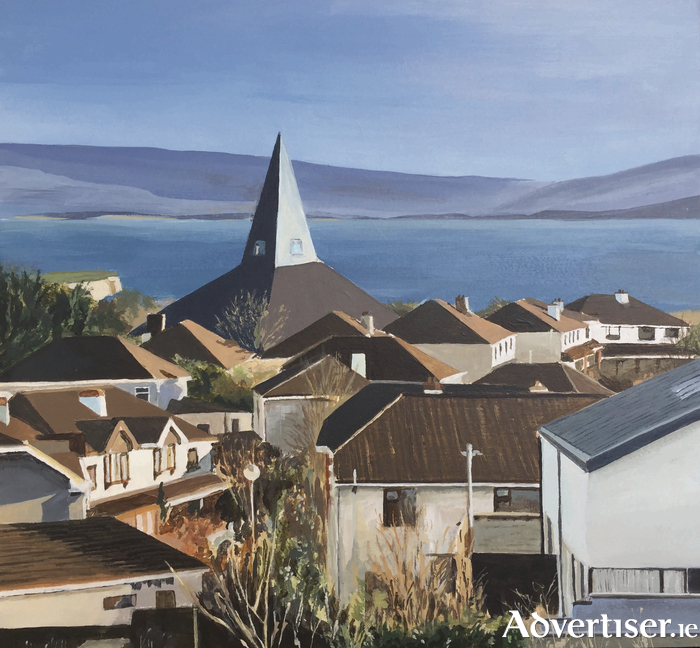 Purple Hills (acrylic on board) by Galway artist Hilary Morley - a view of Knocknacarra down to the local church and beyond to the hills of Clare.