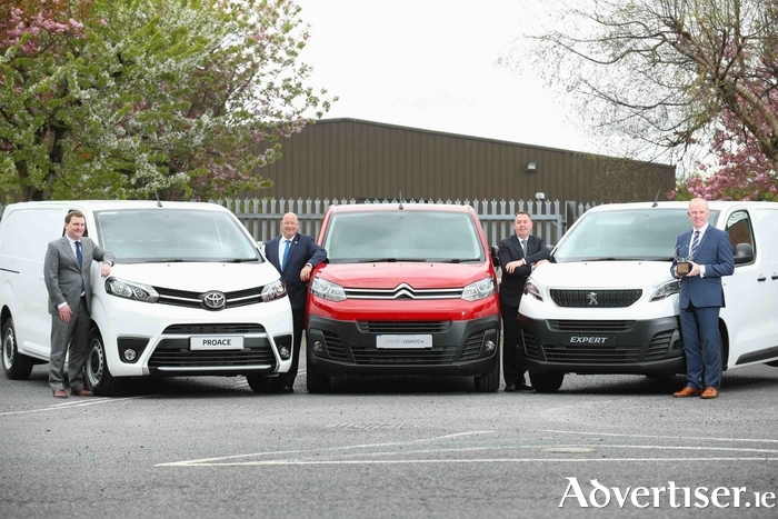 Pictured at the presentation of the Irish Van of the Year award were (L-R): Ian Corbett from Toyota Ireland, Chris Graham from Citroen and DS Ireland, and Des Cannon from Peugeot Ireland/ Gowan Distributors with Tom Dennigan of awards sponsor Continental Tyres.