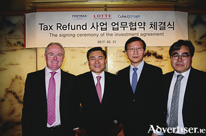 Pictured at the signing of the deal are Patrick Waldron, CEO, Fintrax, Yong-Deuk Ma, CEO, LDCC; Eddie Chen of Eurazeo; and Young Jun Choi, CEO of Cube Refund.