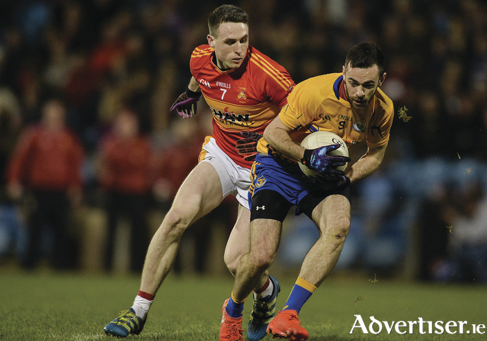 The clash of Kevin McLoughlin (Knockmore) and Paddy Durcan (Castlebar Mitchels) will be one of the highlights of this weekend's round of games in the Mayo GAA Senior Football League. Photo: Sportsfile.