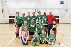 The victorious Mayo volleyball team: Back row: Edel Nolan, Carmel Forde, Eimar McNieve, Grainne McNieve, Mikal O'Boyle, Paulina Balik Nowak, Alex Poplonski (coach). Front row: Jackie Prendergast, Louise Daly, Gillian Doherty.  Photo: Robert Justynski.