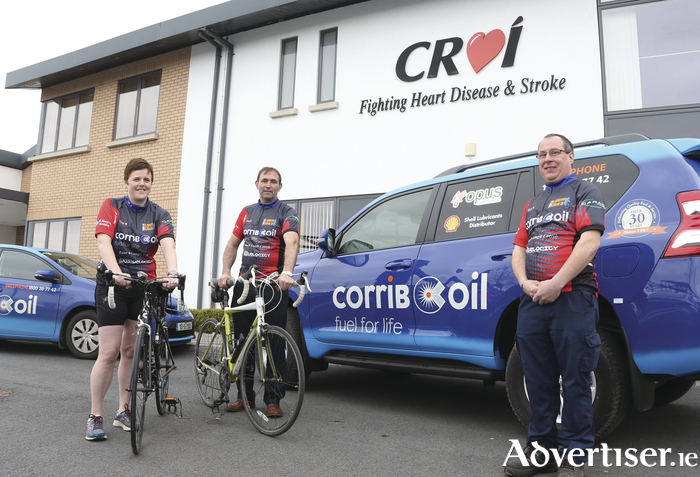 Pictured announcing their sponsorship of theCroí 'Tour de Lough Corrib' Charity Cycle on Sunday June 4 are: (Left to right) Edwina Treacy, Croí, with Gerry Mullin and Bernard Dempsey, Corrib Oil.
