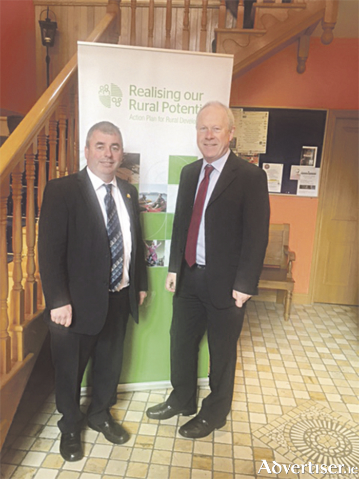 Independent Deputy Kevin 'Boxer' Moran is pictured with the Chief Executive Officer of Longford County Council, Paddy Mahon, in Moate last Thursday